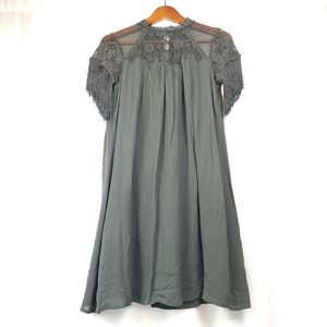 Taylor & Sage Fring Sleeve High Neck Lace Dress